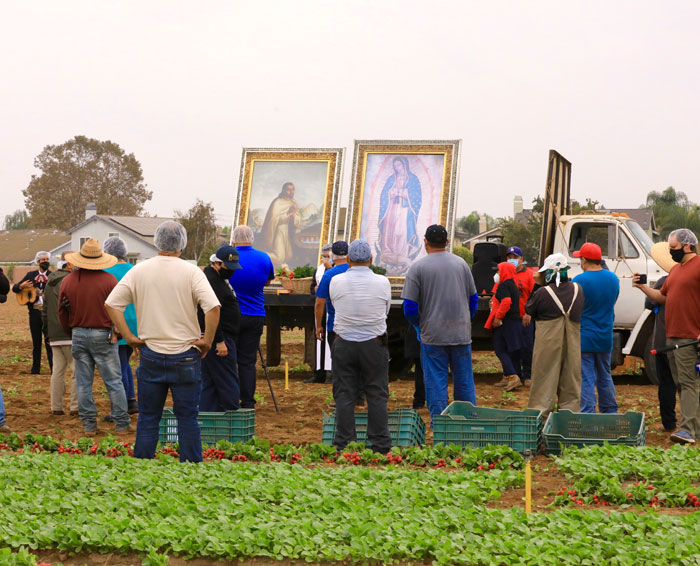 Procession of Virgen of Guadalupe starts with visit to farmworkers